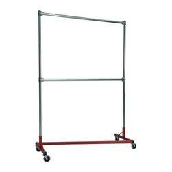 Z Racks - Heavy Duty 5 ft. Z-Rack Garment Rack w Double - Base Color: Red. 500lb capacity. 14 gauge, 60 in. Long steel base (Environmentally safe powder coated finish ). 16 gauge, 84 in. upright bars and double hang rails. 1 5/16 outside diameter upright bars and hang rail. Grey non-marking soft rubber with TP center 4 in. casters. Made in the USA. 63 in. L x 23 in. W x 91 in. HThis Z-Rack is designed to hold up to 500 lbs of apparel while maximizing all 5 ft. of length. The vertical hanging space is 7 ft. and because the two rows are placed on top of each other, the rack will not tip under a heavy load. The second hang rail can be placed anywhere desired along the uprights.