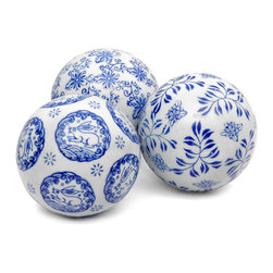 "Oriental Furniture - 4"" Blue & White Decorative Porcelain Ball Set - Four inch diameter Ming dynasty style oriental porcelain spheres. Delightful Asian decorative accessories often displayed in formal and traditional American and European interiors. This set of three (as shown) is a perfect eastern accent for an intriguing centerpiece, curio, or shelf unit display. Woven rattan display basket is not included."