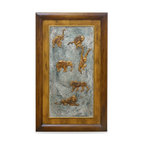 China Furniture and Arts - Safari Wall Plaque - This three-dimensional ornamental wall plaque depicts an abstract presentation of African wildlife. Elephants, primates, and lions are featured in bas-relief on an intricate floral pattern background. Framed with teakwood, it contains a brass hanger on the back for your convenience.