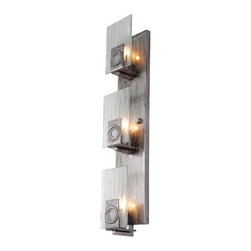 Varaluz - Varaluz 182W03 3 Light Recycled Vertical Wall Sconce from the Polar Collection - Varaluz 182W03 Three Light Vertical Wall Sconce from the Polar CollectionGeosynchronous orbits and polar ice caps provide the inspiration (yes, we meant that seriously) for our Polar collection. Frosty ice crystal patterns in the glass are combined with silvery minimalist metal work to create our ADA bath fixture and clean aircraft-cable hung chandeliers and pendants. The ice crystal glass may be frosty, but the overall look is warm and modern.
