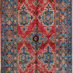 """ALRUG - Handmade Red/Rose Oriental Kazak Rug 3' 11"""" x 7' 3"""" (ft) - This Afghan Kazak design rug is hand-knotted with Wool on Cotton."""