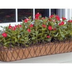 Deer Park Ironworks French Window Box with Coco Liner - Perfect for setting outside on a window ledge or on a deck railing, the Deer Park Ironworks French Window Box with Coco Liner is a beautiful way to bedazzle your potted plants and flowers. Our French – oh, la la! – window box is made of heavy gauge steel and has a natural patina powder-coated finish. Available in small and large sizes, our window box comes with a form-fitted coco liner that will help with soil and water retention.About Deer Park Ironworks Deer Park Ironworks has a reputation as a premier wrought iron lawn and garden company. They create timeless designs with quality materials and price them at competitive rates. All of their products are made from heavy gauge steel and have a durable powder-coated finish, which are Earth-friendly since they emit zero, or near zero, volatile organic compounds. Deer Park's powder-coating finishes also produce a much thicker coating than conventional liquid coatings that sometimes run or sag. Furthermore, Deer Park's products feature a unique natural patina appearance that complements any decor or color scheme. And their decorative baskets, wall planters, and window boxes come with a fitted coco liner that is a natural product that helps with proper drainage and provides a healthy environment for your plants to grow.