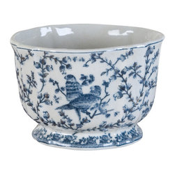 Oriental Danny - Blue and white pot with bird design - Lovely blue and white pot with hand painted bird design. Great for single plant or flower arrangement