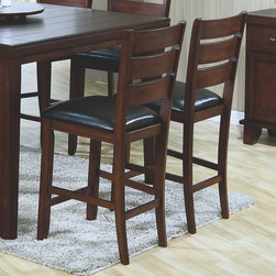 Monarch - Dark Oak 40in.H Pub Chair With A Leather-Look Seat - Set of 2 - These dark oak pub chairs flatter the design of the dining table with their simple and clean lines. With their black bonded leather cushion seats, these pub chairs undeniably add style and appeal to the dining set.