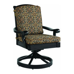 Lexington - Tommy Bahama Kingstown Sedona Swivel Rocker Dining Chair - The chair seat and back cushions have velcro tabs to attach to the frame of the chair ensuring they stay in place while providing comfort and allowing movement encouraged by the swivel mechanism. The Tommy Bahama nameplate is visible on the back rail.