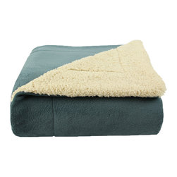 Luxor Linens - Majestic Sherpa Blanket, Light Blue - Coral Fleece on one side and Sherpa on the other