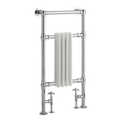"Hudson Reed - Marquis Traditional Towel Warmer 36.6 x 19.3"" With Free Valves in Chrome & White - Constructed from durable, non-ferrous brass, with a high quality chrome finish, this hydronic towel warmer features three horizontal bars, giving an impressive heat output of 550 Watts. Floor mounted, featuring  horizontal bars for drying towels, this traditional radiator brings a touch of class to any modern or period-style bathroom, en-suite or cloakroom suite. The 36.6"" x 19.3"" heated traditional towel radiator connects to your closed loop heating system via the Hudson Reed radiator valves, included in the price."