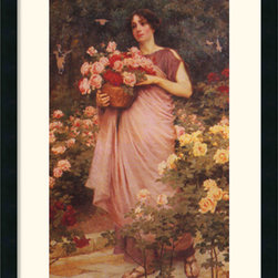 Amanti Art - In a Garden of Roses Framed Print by Richard Willes Maddox - A beautiful young woman harvests roses in this charming fine art print by romantic painter Richard Willes Maddox.
