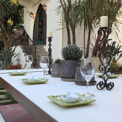 Outdoor Dining Table - Here again, the simple lines of the table allow Spanish details to pop.