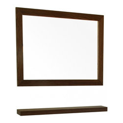 "Bellaterra Home - Rectangular Solid Wood Dark Walnut Frame Mirror - A rectangular wood frame mirror, made with solid birch wood finished in dark walnut finish. It is warm and sophisticated to add to any bathroom. The mirror is a high quality 0.6"" thick mirror prevent rusting against bathroom humidity. All mounting hardware are included. Frame Dimensions: 31.5""W X 23.6""H X 1""D; Finish: Dark Walnut; Material: Oak, Veneer; Beveled: No; Shape: Rectangular; Weight: 11; Included: Brackets, Ready to Hang"