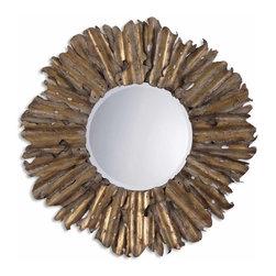 "Uttermost - Uttermost 12742 B Hemani Hand Hammered Antique Gold Metal Mirror - 43"" Diameter - Antiqued Gold Leaf w/ Burnished Edges and Light Gray Wash"