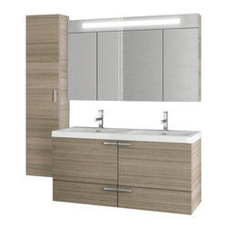 ACF - 47 Inch Larch Canapa Bathroom Vanity Set - In a larch canapa finish, this neutral color contemporary vanity looks great in most bathrooms. It was made in Italy by designer ACF as a four piece vanity set. The set includes vanity cabinet, double ceramic bathroom sink, medicine cabinet, and tall stor