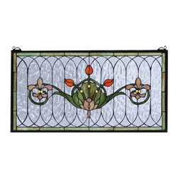 """Meyda - 26""""W X 14""""H Tulip & Fleurs Stained Glass Window - Spring green leaves and borders, lively coral tulipsand plum beige fleur-de-lis, accent the rippling textured clear glass of this elegant victorian inspired stained glass window. The window is handcraftedutilizing the copperfoil construction process and 192pieces of stained art glass encased in a solid brassframe. This lovely window is a creation to be forevertreasured. Mounting bracket and chain included."""