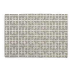 Gray Woven Square Lattice Custom Placemat Set - Is your table looking sad and lonely? Give it a boost with at set of Simple Placemats. Customizable in hundreds of fabrics, you're sure to find the perfect set for daily dining or that fancy shindig. We love it in this interlocking square trellis woven in pale silvery gray & white. equal parts plush & posh.