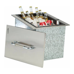 Bull - Ice Chest with Cover and Drain, Stainless Steel Drop-In - What a nice and fancy way to keep your beverages on ice.  This fancy looking ice chest ties together any outdoor bbq setup.  The sealed trim around the lip of the unit will keep the temperatures down
