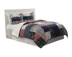 Pem America - Whitfield Full / Queen Quilt with 2 Shams - This casual quilt is a traditional patchwork quilt that is updated for current colors and a casual feel. Includes 1 full / queen size quilt and 2 pillow shams. 100% cotton face cloth with 94% cotton / 6% other fiber fill.  Prewashed for softness. Machine washable.