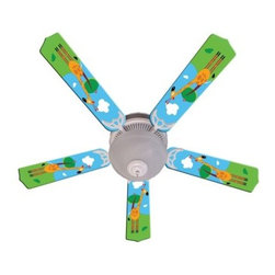 Ceiling Fan Designers Kids Hanging Tall Giraffe Indoor Ceiling Fan - Boys and girls will both love the Ceiling Fan Designers Kids Hanging Tall Giraffe Indoor Ceiling Fan. This cute and colorful ceiling fan has a tall giraffe against sky blue and will cool down and light up their room in style. This ceiling fan and light kit combo comes in your choice of size: 42-inch with 4 blades or 52-inch with 5. The blades are reversible so you get the cute giraffe design until they outgrow it and want simple white blades. It has a powerful yet quiet 120-volt, 3-speed motor with easy switch for year-round comfort. The 42-inch fan includes a schoolhouse-style white glass shade and requires one 60-watt candelabra bulb (not included). The 52-inch fan has three alabaster glass shades and requires three 60-watt candelabra bulbs (included). Your ceiling fan includes a 15- to 30-year manufacturer's warranty (based on size). Perfect in a kid's bedroom, day care center, or pediatrician's office.