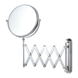 Nameek's - Double Face Adjustable Magnifying Mirror - Mount this 8 inch double face makeup mirror to your master bathroom wall! The mirror features 3x magnification and an adjustable arm. It is made primarily from brass with a stainless steel base. This contemporary style mirror is available in a chrome finish.