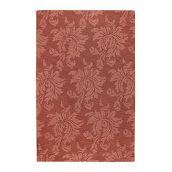 """Surya - Surya Mystique M-171 (Coral Dark Coral) 5' x 8' Rug - Combining centuries old """"hand looming"""" techniques with the finest colors, we have created these crisp and casual designs. Handcrafted in India from 100% wool, teams of craftsmen work traditional shuttle looms to create these unique rugs. Each piece is then painstakingly hand finished, hand carved and detailed."""