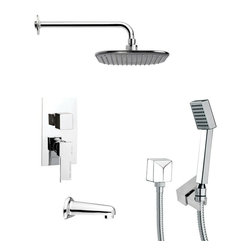 Remer - Square Tub and Shower Faucet with Handheld Shower - Single function tub and shower faucet.