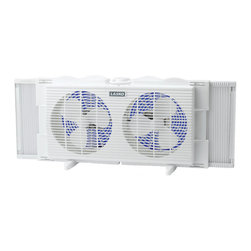 """Lasko - 7"""" Twin Window with Fan, 2 speed - The Lasko 2137 7 In. Twin Window Fan, in white, will cool both day and night. Manually positioned on exhaust during the day, the fan creates a refreshing indoor breeze that expels accumulating heat. Positioned on intake at night, it draws in the cool evening air. This twin fan fits most Double-Hung, casement, and sliding windows. Shipped fully assembled for window use, the versatile unit can also be used on a tabletop or floor by simply attaching the included Snap-On feet.7-Inch twin window fan."""
