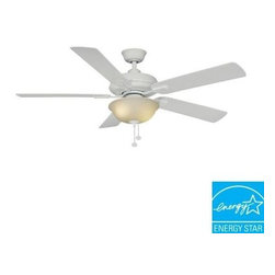 Hampton Bay - Indoor Ceiling Fans and Light: Hampton Bay Larson 52 in. White Ceiling Fan AL420 - Shop for Lighting & Fans at The Home Depot. Add comfort and style to an indoor space with the Larson 52 in. White Ceiling Fan. Designed to complement transitional decors, the fan has 5 reversible white/bleached oak blades that make it easy to change your decor style without having to buy a new unit. The motor features 3 speeds and a reverse function, making this fan an ideal choice for moving air in a large room those measures up to 20 ft. x 20 ft. The fan is Energy Star compliant for energy efficiency. This fan is Energy Star rated for efficient energy savings all year round.