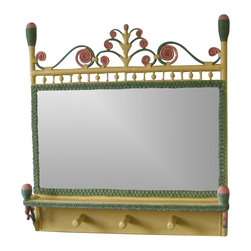 Spice Island Wicker - Coat Rack Mirror (Brown) - Victorian style. 6 in. thickness. Made from wicker. Carousel color. 31 in. W x 34 in. H (15 lbs.)
