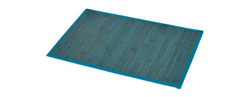 Bamboo Mat Anti Slippery Blue - This bamboo mat is made of bamboo slats with a fabric lining. Modern, stylish and comfortable to your feet, this beautiful bath rug brings a note of natural beauty to your bathroom decor. It prevents slips with its PVC non-skid backing. Hand wash and no dryer. Indoor use only and for use outside of the tub only. Width 20-Inch and length 31.5-Inch. Color blue. Add a stunning look and a perfect finishing touch to your bathroom decor with this trendy bamboo mat! Complete your decoration with other products of the same collection. Imported.