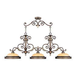 Livex - Livex 8546-64 Seville Island Lighting Palacial Bronze with Gilded Accents - Livex 8546-64 Seville Island Lighting in Palacial Bronze with Gilded Accents with Hand Crafted Gold Dusted Art Glass.