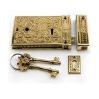 Damask Rim Lock Set - Reflecting damask designs woven centuries ago, this rim lock set includes skeleton keys and a matching keyhole.
