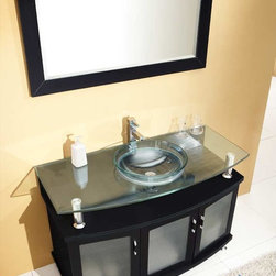 """Fresca - Fresca Contento Espresso Modern Single Sink Vanity Set w/ Mirror - 48"""" - A lovely vanity that takes a contemporary twist on baroque furniture. Little details such as slightly octangular shaped storage, cubby hole storage underneath the counter and basin, a clear glass basin and a wide mirror really make this ensemble great for those looking to not just update their bathroom, but keep it classic. Many faucet styles to choose from."""