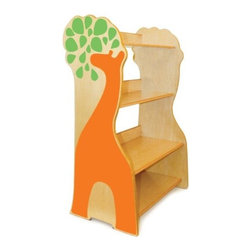 P'kolino Giraffe Book Case - The bright colors combined with natural wood make this giraffe shelf a beautiful piece to use in a nursery or kid's room.