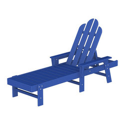 "Polywood POLYWOOD® Long Island Chaise in Pacific Blue - Kick back and relax Bring the easy comfort of a day at the beach to your outdoor living area with the stylish and eco-friendly Long Island Chaise inspired by the classic Northeast Adirondack with a twist of modern design. You don't need a house in the Hamptons to create your own breezy get away with these classically styled pieces constructed from HDPE material – an incredibly durable material made from post-consumer bottle waste, such as milk and detergent bottles. Solidly constructed with stainless steel hardware, these pieces will stand the test of time and can withstand the elements with very little maintenance.  The Long Island Chaise will not absorb moisture and requires no waterproofing, painting or staining to maintain their bright color for years. The colors are blended into the material all the way through, and are UV-resistant. Minimal assembly is required.  The collection includes the Long Island Adirondack Chair and the South Beach Ottoman.  Available colors: Sunset Red, Tangerine, Lemon, Lime, Aruba, Pacific Blue, Teak, White, and Black.  Dimensions Long Island Chaise – 37.25""H x 26.5""W x 75.5""D, Seat height – 12"", Seat size – 20"" x 43.25""   Care: Wash with mild soap and water. They can be power washed at pressures below 1,500 PSI.Please allow 2-3 weeks to ship"