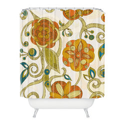 DENY Designs - Valentina Ramos Orange Flowers Shower Curtain - Who says bathrooms can't be fun? To get the most bang for your buck, start with an artistic, inventive shower curtain. We've got endless options that will really make your bathroom pop. Heck, your guests may start spending a little extra time in there because of it!