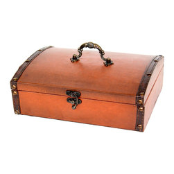 Small Vintage Style Leather Treasure Chest - Decorative box from Quickway Imports that is great for storage and decoration, And will fill any empty place in your home or heart.
