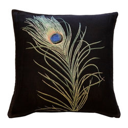 Pillow Decor Ltd. - Pillow Decor - Peacock Feather 19 x 19 Throw Pillow - Strut your style! This extraordinary pillow depicts a single peacock plume in the fine detail of French tapestry. What an impressive way to feather your nest.