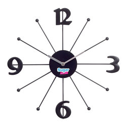 "Modway - Shopping Wall Clock in Black - Enjoy regulated portions of cultivated decor with our celebrated SugarStores.com sleek modern wall clock. Treat your sweet tooth as you release healthy packets of energy to your contemporary environment. Enjoy what you love while developing your sense for all things great and wonderful. While Supplies Last! Includes: One - ""Shopping Made Sweet"" Modern Wall Clock; Black Lacquered Metal Prong Rays; Quartz Analog; Uses AA battery (sold separately); Free with Purchases over $250; Dimensions: 2""L x 22""W x 22""H"