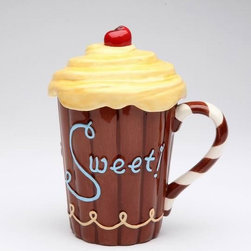 "ATD - 5.75 Inch ""Life is Sweet"" Chocolate Brown Mug with Yellow Frosting Lid - This gorgeous 5.75 Inch ""Life is Sweet"" Chocolate Brown Mug with Yellow Frosting Lid has the finest details and highest quality you will find anywhere! 5.75 Inch ""Life is Sweet"" Chocolate Brown Mug with Yellow Frosting Lid is truly remarkable."