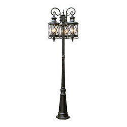 """Trans Globe Lighting - Trans Globe Lighting 5127 ROB New England Coast 81"""" 3 Lantern Lamp Post - Coastal New England horse and carriage hanging lantern. Cross bar frame with rounded seeded glass. Wrought iron post arms and 3 hanging lanterns."""