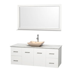 """Wyndham Collection - Centra 60"""" White Single Vanity, White Carrera Marble Top, Ivory Marble Sink - Simplicity and elegance combine in the perfect lines of the Centra vanity by the Wyndham Collection. If cutting-edge contemporary design is your style then the Centra vanity is for you - modern, chic and built to last a lifetime. Available with green glass, pure white man-made stone, ivory marble or white carrera marble counters, with stunning vessel or undermount sink(s) and matching mirror(s). Featuring soft close door hinges, drawer glides, and meticulously finished with brushed chrome hardware. The attention to detail on this beautiful vanity is second to none."""