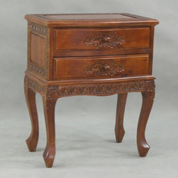 International Caravan - Two-Drawer End Table w Intricate Hand Carving - Our attractive end table brings unparalleled warmth and grace to any room in your home. The table features hardwood construction, a rich stain finish, 2 convenient drawers and plenty of hand-carved floral motif highlights. Curved legs provide stability and extra style. In Stain finish. 21 in. L x 13 in. D x 25 in. H