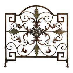 Benzara - Fireplace Screen Brown Bronze Green Metal Scroll Work Leaf Decor 21634 - Fireplace screen in brown bronze and green with beautifully crafted wrought metal scroll work and leaf accent decor