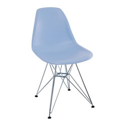 "LexMod - Paris Dining Side Chair in Blue - Paris Dining Side Chair in Blue - These molded plastic chairs are both flexible and comfortable, with an exciting variety of base options. Suitable for indoors or out, appropriate for the living and dinning room, these versatile chairs are a great addition to any home dcor statement. Set Includes: One - Paris Wire Side Chair Chromed Steel Base, Plastic Non-Marking Feet, For Indoor or Outdoor Use Overall Product Dimensions: 21""L x 18.5""W x 32.5""H Seat Dimensions: 17""L x 18""W x 18""H - Mid Century Modern Furniture."