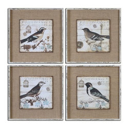 Uttermost - Black And White Birds Art Set of 4 - Images are printed on boards then mounted on medium sand colored linen fabric.