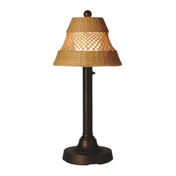 Patio Living Concepts - Patio Living Concepts Java 34 Inch Table Lamp w/ 2 Inch Bronze Tube Body & Diamo - 34 Inch Table Lamp w/ 2 Inch Bronze Tube Body & Diamond Center Pattern Weave Antique Honey Wicker Shade belongs to Java Collection by Patio Living Concepts All-weather handwoven center diamond pattern PVC wicker shade highlights the opal polycarbonate light globe in this elegant outdoor lamp. Features weatherproof all resin construction with heavy weighted base, two level dimming switch and 16 ft. weatherproof cord and plug. Waterproof light bulb enclosure allows the use of a standard 100 watt light bulb. Model # 16227 Lamp (1)