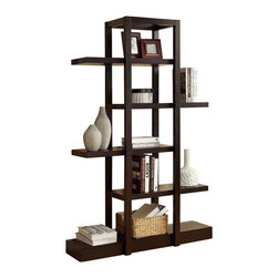 """Monarch Specialties - Monarch Specialties 2541 71 Inch Open Concept Display Etagere in Cappuccino - Add visual depth to any decor with this cappuccino finished open concept shelf display. The 71"""" high unique design is sturdy as it functional. Its open concept allows for ample room to display pictures, decorative pieces and even books. This piece is a great addition to your living room, hallway or even bedroom. What an exquisite piece!"""
