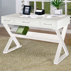 Coaster - Storage Desk w 3 Drawers (White) - Finish: WhiteContemporary style. Center pencil drawer. Silver metal handles accent each drawer front. Crossing legs below create bold look. Shelf for holding books. 48 in. W x 24 in. D x 31 in. H. WarrantyThis cool desk will be a stylish addition to your home office, hallway, living room or wherever you need a work space in your home. The generous top surface has smooth clean edges, offering plenty of space to spread out your paperwork, place or lamp or organize office essentials. Drawers below will keep the rest of your supplies organized and out of sight, for a calming work space where you can really get things done. This desk is sure to complement your decor and complete your cool contemporary ensemble.