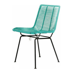 Stainless Steel & Woven Pvc Chair - Stainless steel frame with woven turquoise PVC cord chair. From Chapultepec, Mexico.