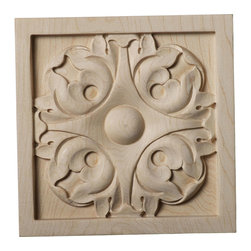 """Ekena Millwork - 5 1/8""""W x 5 1/8""""H x 7/8""""D Large Leaf Rosette, Maple - Our rosettes are the perfect accent pieces to cabinetry, furniture, fireplace mantels, ceilings, and more.  Each pattern is carefully crafted after traditional and historical designs.  Each piece is carefully carved and then sanded ready for your paint or stain.  They can install simply with traditional wood glues and finishing nails."""