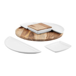 7-Pc. Spinner Appetizer Set - Your carefully prepared hors d'oevures will look outstanding against the chic combination of acacia wood and polished ceramic. Five white dishes—with a lid for the center—rest atop the wooden lazy susan base, keeping appetizers and condiments easy to serve.